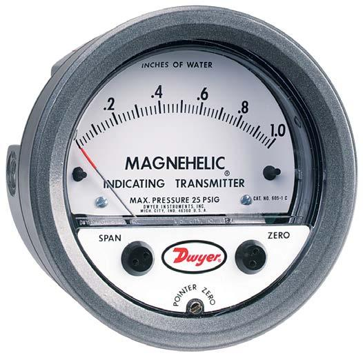 The SERIES 605 Magnehelic Indicating Transmitter